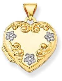 14k Heart Locket with Rhodium Flowers by UKGems