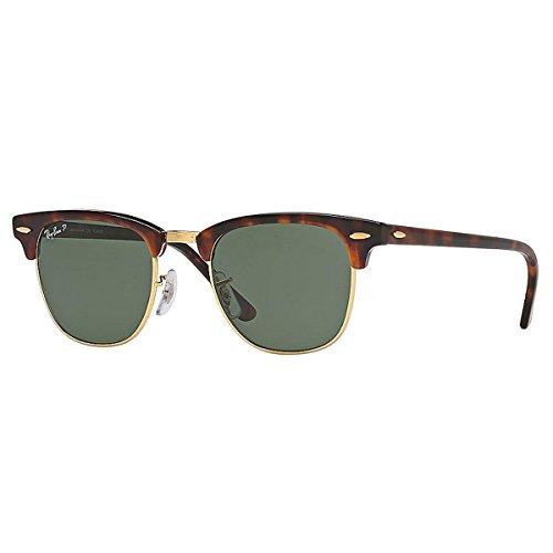 Ray Ban Unisex Clubmaster Sonnenbrille, Mehrfarbig (Gestell: Schildkröte, Gläser: Polarized Grün Klassisch 990/58), Medium (Herstellergröße: 49)