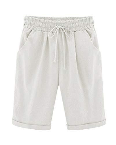 ShallGood Bermuda Shorts Damen Knielang Sommer Kurze Hose mit Gummizug Frauen Große Größen Loose Stoffhose Stretch Weiß Small