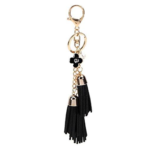 Webla Lovely Leather Tassel Pendant Key Chain Handbag Wallet Car Key Ring (Black)