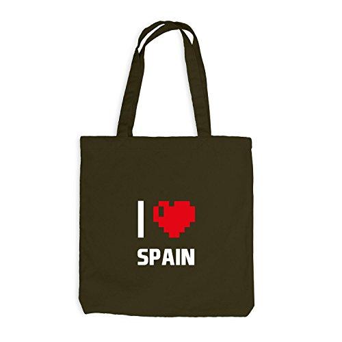 Jutebeutel - I Love Spain - Spanien Reisen Herz Heart Pixel Olive