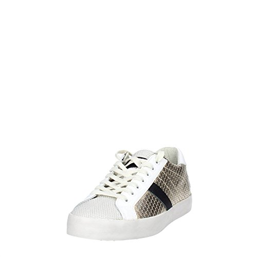 D.A.T.E Hill Low cuir Femme Gold Blanc/Or
