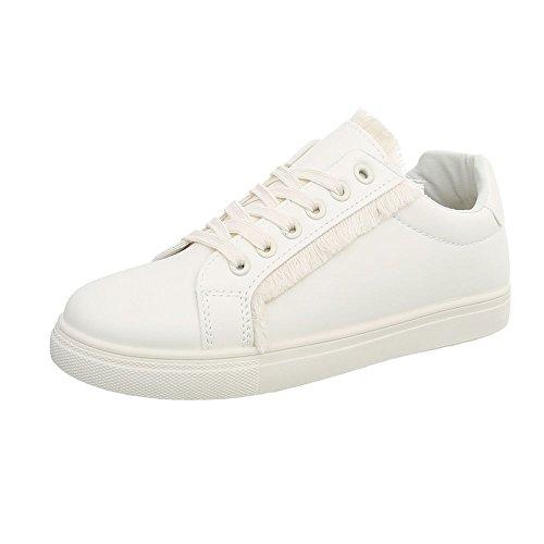 Ital-Design Sneakers Low Damen-Schuhe Schnürsenkel Freizeitschuhe Weiß, Gr 37, G-91-
