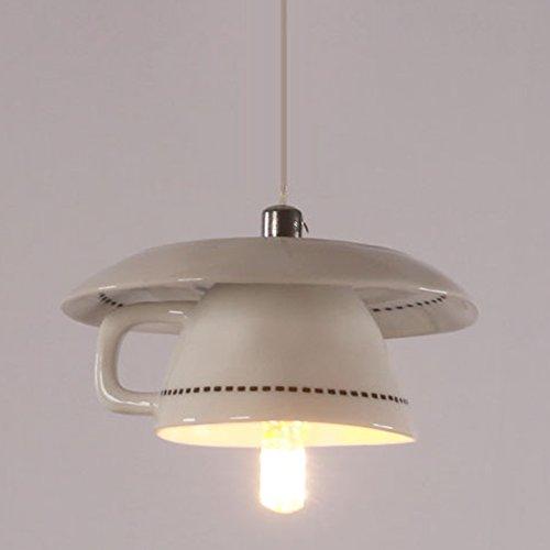 Modernes Keramik-Pendelleuchte Creative Porzellan Tassenlampe Kleine Tasse Hängeleuchte für Wohnzimmer, Schlafzimmer, Essbereich Küche Innenbeleuchtung G4×1 Lampen Durchmesser 13CM (Hoch einstellbar)