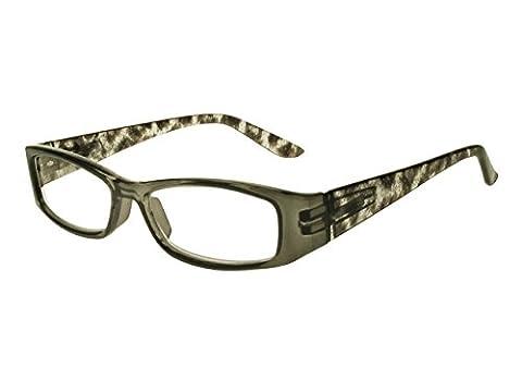 GL2171 Safari Grey Animal Print Rectangular Reading Glasses +1.0, +1.5, +2.0. +2.5, +3.0 (+2.5)