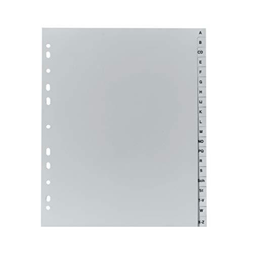 Original Falken PP Kunststoff-Register überbreit. Für DIN A4 24,5 x 29,7 cm volle Höhe Druck A-Z 20 Blatt grau Ringbuch Ordner Plastikregister für die ideale Ablage von Prospekthüllen