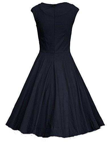IMUYI Les années 1950 des femmes Retro Party Vintage mancherons Swing Dress Bleu