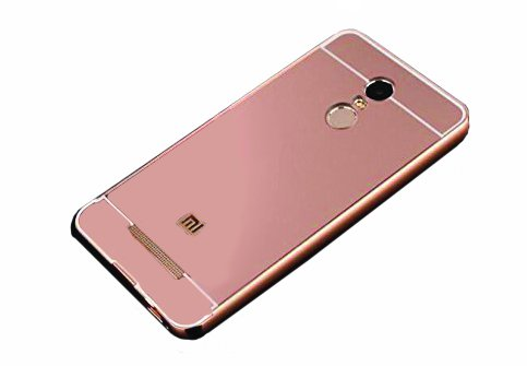 CEDO Premium Luxury Metal Bumper Acrylic Mirror Back Cover Case For Xiaomi Redmi Note 3 - Rose Gold