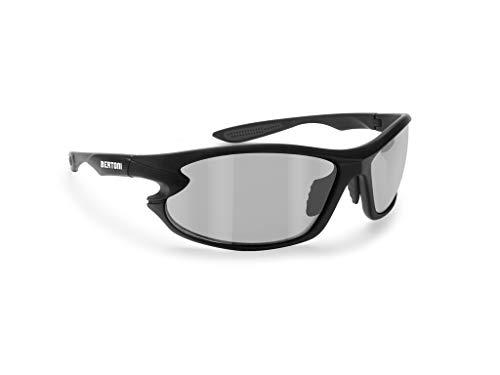 Selbsttönend Polarisierte Sportbrille - 676 by Bertoni Italy - Winddichte Sonnenbrille für Fahrrad Laufen Radfahren Golf Ski Angeln Wassersport (Matt Schwarz - Polarisiert)