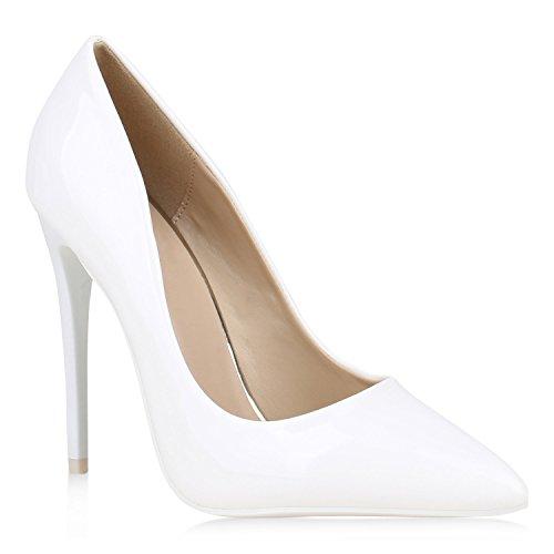 Spitze Damen Pumps Lack High Heels Stilettos Klassische Schuhe 152910 Weiss 39 Flandell