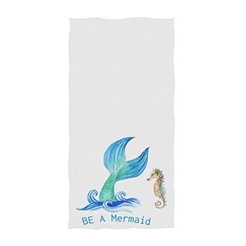VLOOQ-HX Niedlicher Meerjungfrau-Schwanz-Aquarell-Druck-weiche Gasthandtücher vielseitig verwendbar für Badezimmer, Hotel, Turnhalle und Badekurort