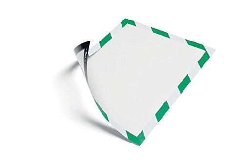 Durable 4945131 Info-Rahmen Duraframe Magnetic Security (A4, Magnetrahmen für metallische Oberflächen) 5 Stück, grün/weiß
