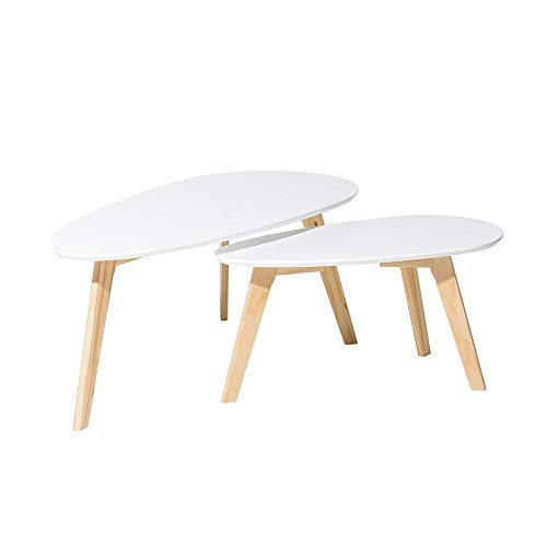 Tables basses - lot de 2 tables d`appoint - blanc - Fly II
