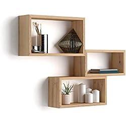 Mobili Fiver Set de 3 Cubes muraux, Giuditta, en mélaminé, Bois Rustique, 27 x 14,5 x 45 cm, Made in Italy