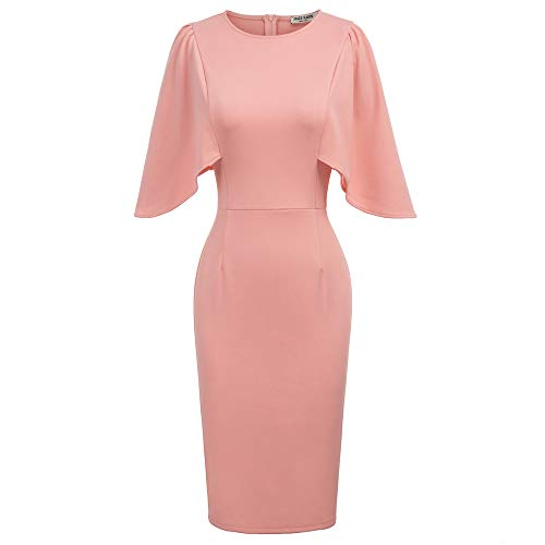 GRACE KARIN Damen Abendkleid Business Kleid Knielang Kleid Rundhals Kleid Bleistiftkleid Bodycon Pencil Kleid Hellrosa CL011106-2_S