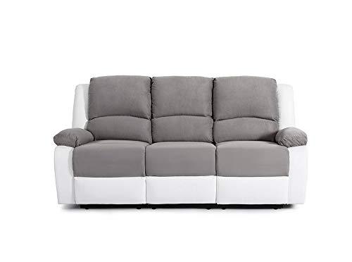 Générique Relax canapé de Relaxation en Simili et Tissu 3 Places - 190x93x96 cm - Gris et Blanc