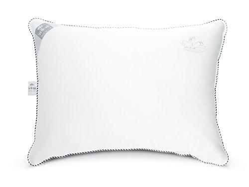 Sei Design Swan de Luxe-Cuscino con rivestimento in cotone di alta qualità. Supe rweicher Comfort attraverso un daunenähnlichen manico l' imbottitura. Elegante Swan de Luxe Exquisit eingearbeitete aufstickung sia per il bordo dona al cuscino la sua eleganza L' imbottitura è regolabile individualmente grazie a un ulteriore chiusura lampo e rivestimento interno., Cotone, 60x80