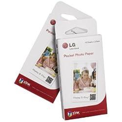 LG PS2203 Papier d'impression photo sans encre 30 feuilles Format 5 x 7,6 cm Blanc