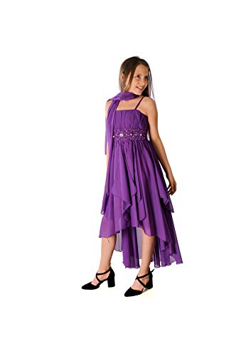 Miss Aylan Festliches Mädchen Kleid mit Stola Strass Perlen Strass Prinzessinnenkleid M533li Lila 152