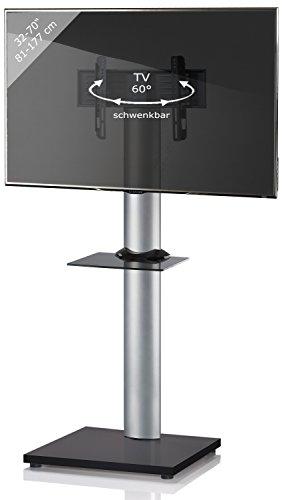VCM TV Standfuß LED Ständer Fernseh Alu Glas Universal VESA Mobil Rollen  Zwischenboden Schwarzlack/Schwarzglas