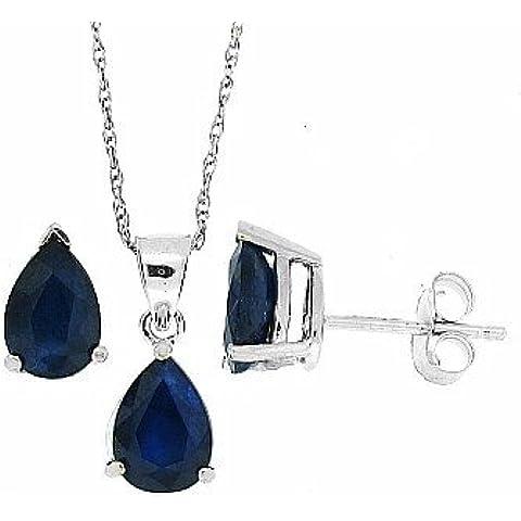 2.10Ct TW forma pera Genuine Sapphire orecchino pendente oro bianco 14Kt w / gruppo (AB)