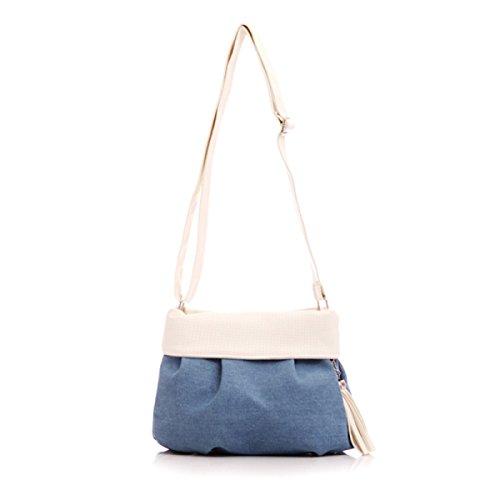 Donne Maniglia Satchel Tassel Zipper Canvas Shoulder Bag Inclinato White