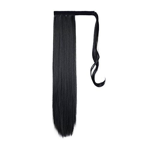 Coleta postiza Feshfen de pelo sintético liso con clips, 61 cm de largo y 130 g de peso