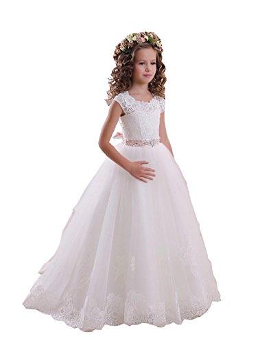 lumenmädchen Kleider Kurze Ärmel mit Schärpe Mädchen Festzug Kommunion Kleider für Hochzeit (Kommunion Kleider Mit ärmeln)