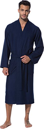 Morgenstern Kimono Bademantel Herren Saunamantel blau leicht Männer Herrenbademantel wadenlang Bambus Baumwolle Microfaser Bade Mantel Größe S