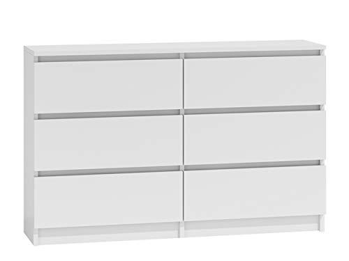 Kommode mit 6 Schubladen Malwa M6 120, Anrichte, Diele, Flur, Highboard, Mehrzweckschrank, Sideboard, Wohnzimmer,...
