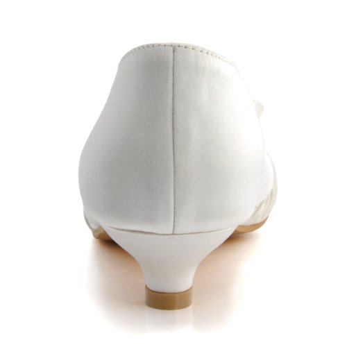 ElegantPark EP2057 Femme Satin Plisse Bout Rond Noeud MiniTalon Chaussures de mariee Bal Ivoire