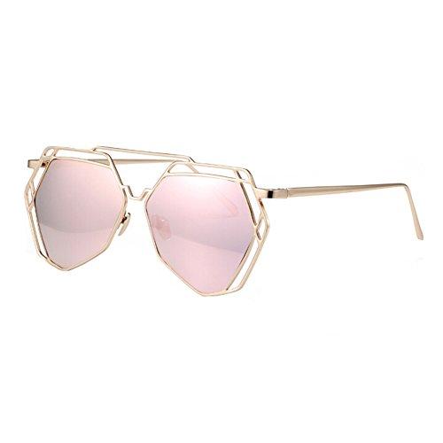 Mode Frauen Vollmetallrahmen Flash-Spiegel-Objektiv-Sonnenbrille, Rosa