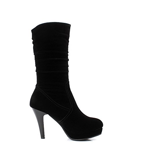 AgooLar Damen Rund Zehe Blend-Materialien Mitte-Spitze Hoher Absatz Stiefel Schwarz-Wasserdicht Plattform