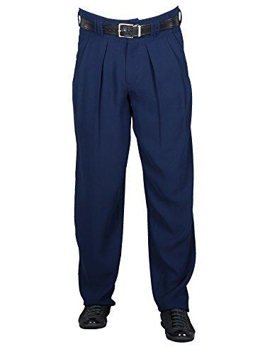 Fashion Zoot Suit (H K Mandel Herren Chino Hose Stoffhose in Dunkelblau mit Bundfalte aus Microfaser mit Extraweit geschnittene Beine Model Boogie Größe 46)