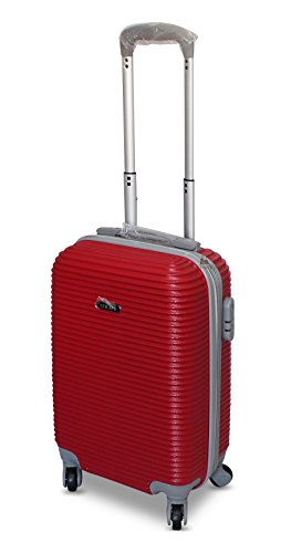 Trolley valigia in abs bagaglio a mano 52x32x20 4 ruote 2017 (rosso)