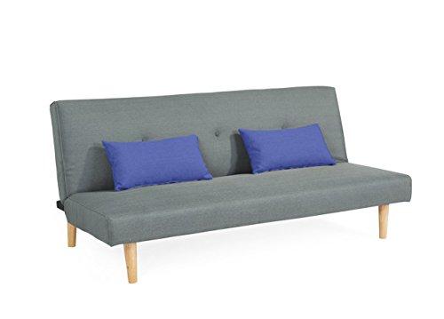 Sofa für Büro Schlafsofa klappbar Grau und 2 Blaue Kissen