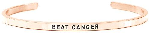 Daniel Sword Bracciale da Donna con incisione Message Text Spruch donne braccialetto Beat Cancer 18K Rose Gold–Steel–Oro Colori, One size 7390