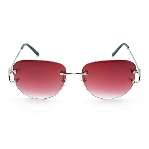 LKVNHP Neue Hochwertige Ovale Sonnenbrille Männer Brillengestell Für Frauen Trendy Randlose Decor Sonnenbrille Brillen Silber Brillengestell Red Aviator Objektiv
