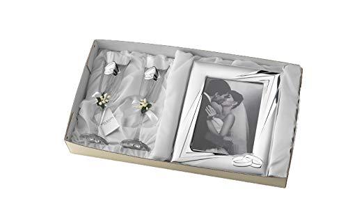 Cofanetto regalo per nozze, 25° o 50° anniversario, con cornice in argento e due bicchieri da champagne, personalizzabile