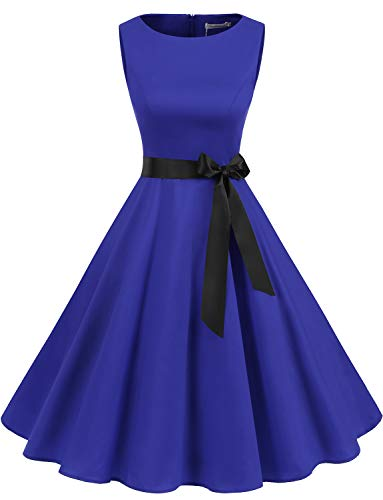 Gardenwed Damen 1950er Vintage Cocktailkleid Rockabilly Retro Schwingen Kleid Faltenrock Royal Blue L
