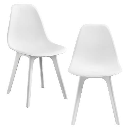 Sedie per Sala da Pranzo Design 83 x 54 x 48 Set di 2 Pezzi Plastica Bianco