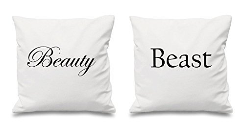 Beauté et Beast Blanc Housses de coussin 40,6 x 40,6 cm Couples Coussins Saint Valentin Anniversaire de mariage Chambre à coucher Coussin décoratif Maison