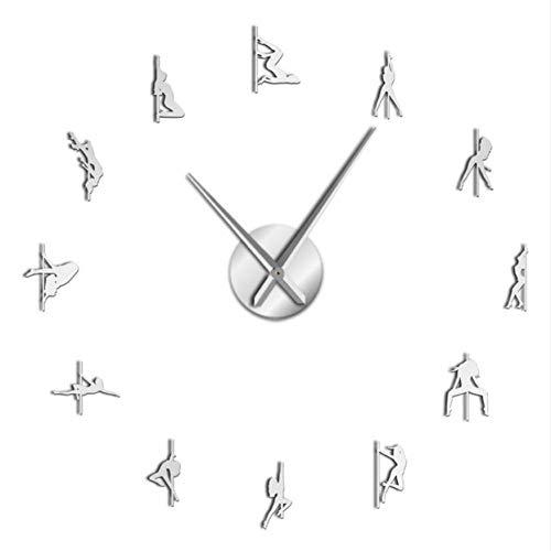 Wangcheng1 Pole Dance Rahmenlose 3D DIY Moderne Wanduhr Exotic Dance Kit Dekoration Mit Spiegel Zahlen Aufkleber Uhr Geschenk für Mädchen(37inch) - Uhr-kits Mit Zahlen