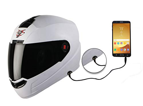 Steelbird SBA-1 7Wings HF Dashing Full Face Helmet with Smoke Visor and Detachable Handsfree Device (Large 600 MM, White)