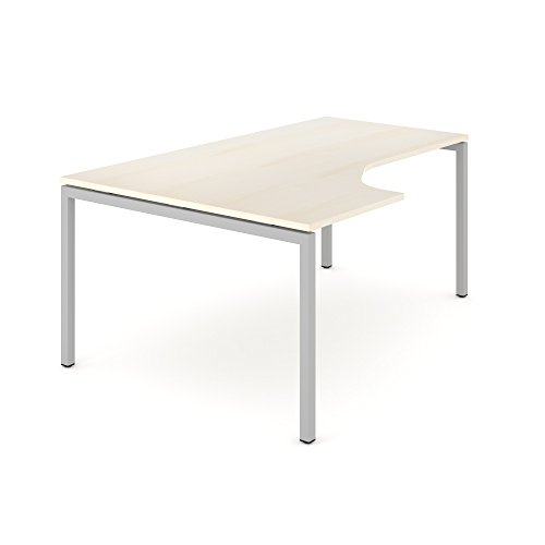 Ahorn Stahl Schreibtisch (Winkelschreibtisch links NOVA 180 x 120 cm Ahorn Computertisch Eckschreibtisch)