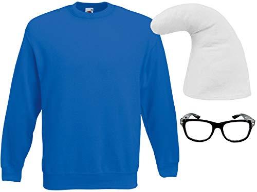 Alsino Zwergen Kostüm Blauer Zwerg Outfit (Kv-150) mit Nerd Brille in Schwarz, Größe XL | Zwergenmütze Weiß und Pullover, (Nerd Kostüm Mit Brille)
