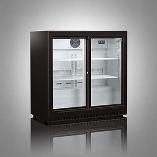 Husky Commercial Fridge, Double Back Bar Chiller, 210L Capacity, LED Illumination, Sliding Doors, C2-S-HY - No Drinks