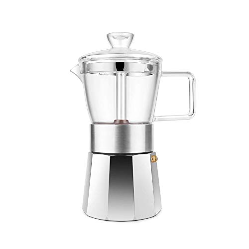 Glas-herd-kaffeemaschine (Geesta Espresso-Kaffeemaschine Glas Herdplatte Mokka Pot 6 Tassen)