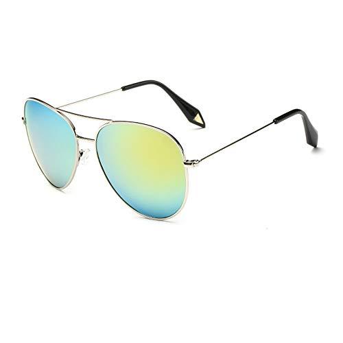 ZSHHG Mode Bunte Spiegel Polarisierte Herren Sonnenbrille Victoria Sonnenbrille Reflektierende Sonnenbrille Weibliche Hipster Goldrahmen Gelb Grün Tabletten 148 * 132 * 52 Mm