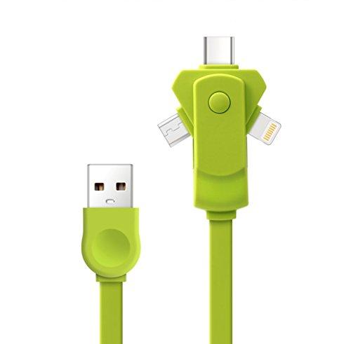 [Version la plus récente] Câble chargeur USB multiple, SMTR 3 en 1 360 adaptateur rotatif Micro adaptateur rotatif gratuit avec connecteur 8 broches / USB C / Micro USB / Mini ports USB pour iPhone 7 7plus SE 4s 5 6 6s Plus iPad, Samsung, Huawei, Xiaomi, Meizu, ZTE, Lenovo, LG, Zenfone et un autre téléphone Android(vert)